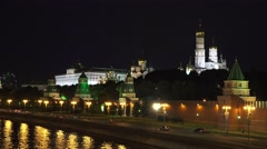 The Kremlin, Moscow (in 4k) lit up at night from Bolshoy Moskvoretsky Bridge. Stock Footage