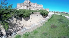 Aerial video of Coca Castle (Castillo de Coca) , Castilla and Leon, Spain. Stock Footage