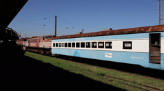 Old train in abandoned train station Stock Footage