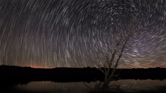 Spiral Star trails with reflection on Lake. Lonely old tree - stock footage