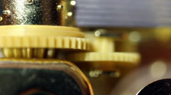 Tight Shot Of Gear Wheels And Cylinder Music Box Stock Footage
