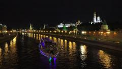 The Kremlin, Moscow (in 4k) lit up at night from Bolshoy Moskvoretsky Bridge. - stock footage