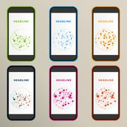 Set of abstract molecule compounds for screens - stock illustration