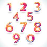 Stock Illustration of Numbers set in modern polygonal crystal style.  illustrati