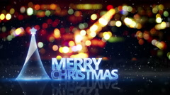 Merry christmas text and city bokeh lights loop 4k (4096x2304) Stock Footage