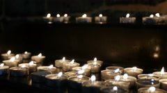 White Candles Burning Peacefully Stock Footage