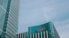 Canary Wharf office buildings. Glass and steel financial skyscrapers Stock Footage