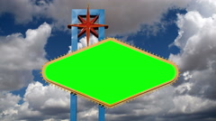 Las Vegas Sign Chroma Key with Moving Clouds Time Lapse Stock Footage