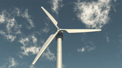 4k closeup of Windmill Turbines Clean,Green Wind Energy,new power,white cloud. Stock Footage
