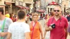 Crowd walking in istanbul/taksim/istiklal/August 2015 Stock Footage