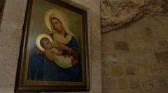 JERUSALEM, ISRAEL 2015: Icon image of Virgin Mary Stock Footage