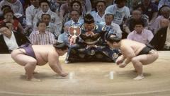 8mm Vintage Style Sumo Wrestling in Tokyo Japan Stock Video Stock Footage