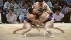8mm Vintage Style Sumo Wrestling in Tokyo Japan Stock Video Stock Footage