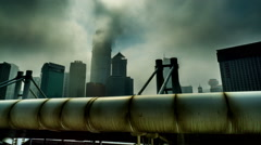 The buildings and tubes in the city, Dalian, China Stock Footage