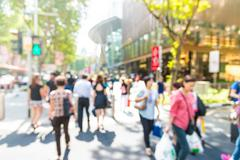 Blur people in rush hours at orchard road Stock Photos