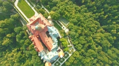 AERIAL 4K of Medieval Castle Ksiaz in city Walbrzych, Poland, Lower Silesia. Stock Footage