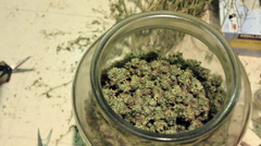 Medical marijuana being poured from one big jar to another - stock footage