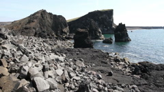 Rocky beach in Iceland Stock Footage