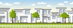 Modern white houses, also usable as a continuous background - stock illustration