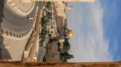 Vertical shot of Pushing time-lapse of the Dome of the Rock from a wall to the Stock Footage