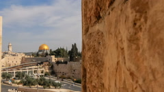 Panning shot of Pushing time-lapse of the Dome of the Rock from a wall to the Stock Footage