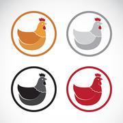 Vector group of hen design on white background. - stock illustration