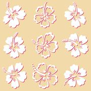 Stock Illustration of Hibiscus silhouette icons