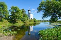 Church of Intercession on Nerl near village Bogolyubovo, Russia Stock Photos