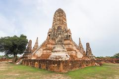 Public ancient temple in Ayuthaya, Thailand - stock photo