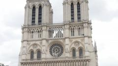 Notre-Dame Cathedral located in France capital Paris slow tilt 4K 2160p Ultra Stock Footage