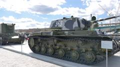 Heavy Tank KV-1 mod. 1936. Pyshma, Ekaterinburg, Russia. 4K Stock Footage
