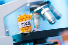 Agricultural grains and legumes in the laboratory Stock Photos