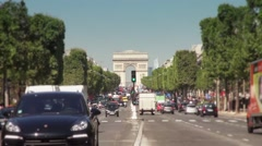 Slow Motion Traffic Avenue Champs Elysee, Paris - 1080p Stock Footage