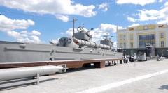 Layout torpedo boat 'Komsomolets' (Project 123-bis). Pyshma, Ekaterinburg, Stock Footage