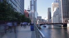 Commuters along the Chicago River Stock Footage