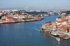 Douro river at cities of Porto and Vila Nova de Gaia in Portugal. - stock photo