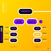 Organization chart template on bright yellow background. EPS10 Stock Illustration