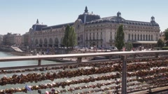D'Orsay museum From Pont des Arts with Lovelocks - pan Stock Footage