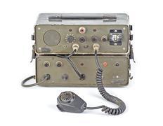 dark green amateur ham radio on white background - stock photo