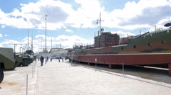 Model armored boats MBK Project 161. Pyshma, Ekaterinburg, Russia. 1280x720 Stock Footage
