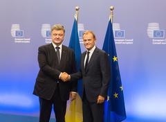 Petro Poroshenko and Donald Tusk - stock photo