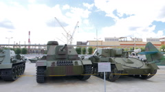 Self-propelled artillery. Pyshma, Ekaterinburg, Russia. 4K Stock Footage
