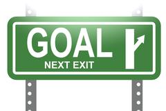 Goal green sign board isolated Stock Illustration