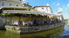 Certovka restaurant & Kafka museum from the Tourist boat at Certovka Channel Stock Footage