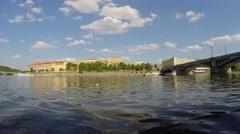 Rudolfinum & Manes Bridge from the Tourist boat at Vltava River. Prague Stock Footage