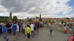 Passage through the Charles Bridge (First Person View). Prague Stock Footage