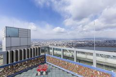 Osaka topview with cloud on daylight. Stock Photos