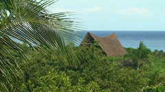 Thatched roof huts on the background of the jungle and the sea Stock Footage