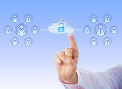 Unlocking Access To Two Work Teams Via Cloud - stock illustration