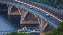 Bridge Dnieper in Kiev, Ukraine Stock Footage